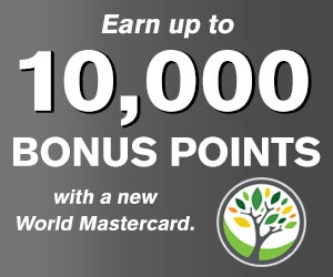 earn up to 10000 bonus points with a new world mastercard