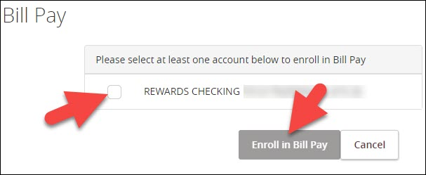 select funding account from list and click enroll in bill pay