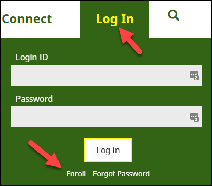 select log in then click enroll