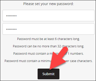 enter new password and click submit