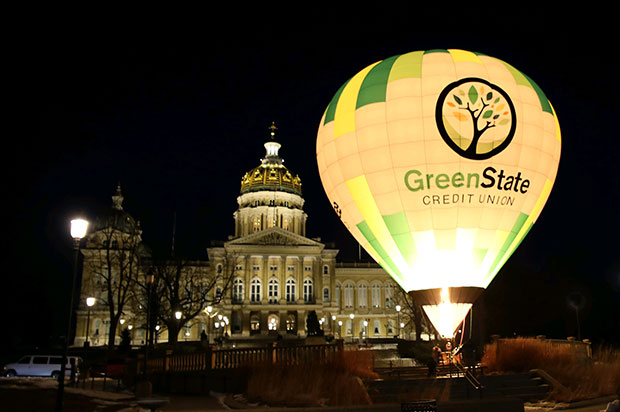 GreenState hot air balloon in front of Iowa capital building