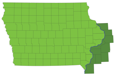 field of membership map showing Iowa and Illinois counties