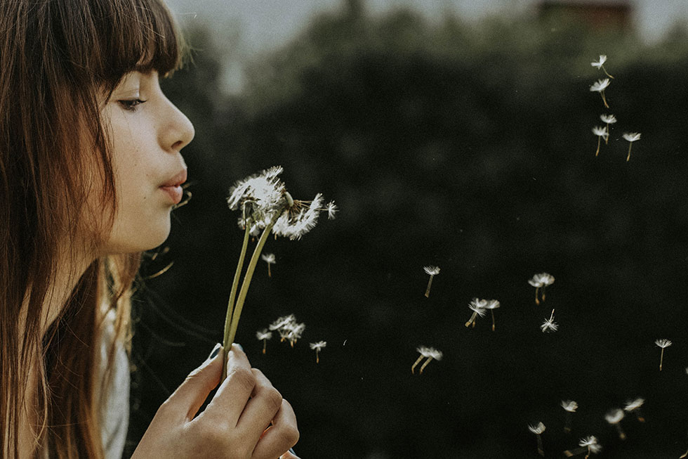 Girl and dandelion seeds