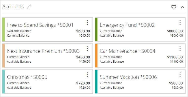 Example screen shot of multiple savings accounts viewed online