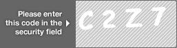 captcha code for visual authentication  letter C number 2 letter Z number 7